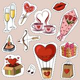 Vector illustration of cartoon stickers for Valentines day. The illustration shows glasses with champagne, a gift, a kiss, a bow and a cupid arrow, a balloon Stock Photos