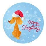 Cute sitting smiling yellow dog. Blue background with snowflakes and red lettering Merry Christmas. Vector illustration in cartoon style of a cute sitting Royalty Free Stock Photography