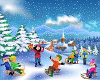Happy children enjoying winter season. Vector illustration in a cartoon style of happy children enjoying winter season Stock Photography