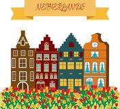 Vector illustration in cartoon style with symbols of Amsterdam. The concept of a tourism banner stock illustration