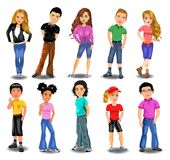Teenagers collection. Vector illustration in a cartoon style of teenagers collection isolated on a white background Royalty Free Stock Photos
