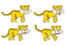 Vector illustration of Cartoon Tiger Character Set Stock Image