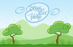 Vector illustration: Cartoon tree on the mountains background. Vector illustration: Cartoon tree on the mountains background Royalty Free Stock Image
