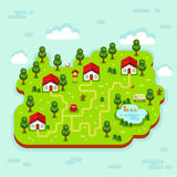 Vector illustration of cartoon village. Vector flat style isometric 3d stock illustration of cartoon summer village, trees, well, footpath, pond with ducks Stock Image