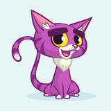 Vector illustration of cartoon violet kitty. Cute purple stripped cat with a grumpy expression sitting.  Royalty Free Stock Image