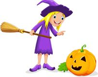 Witch and pumpkin cartoon Royalty Free Stock Photo