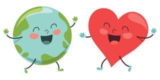 Vector Illustration Of Cartoon World And Heart. Eps 10 stock illustration