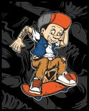 A vector illustration of cartoon young Pinocchio with skateboard royalty free illustration