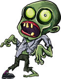 Vector illustration of a cartoon zombie. With a grotesque green eye, cracked skull and ragged clothing isolated on white for your Halloween concept Stock Photography