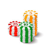 Vector illustration of casino chips on white background Royalty Free Stock Photo