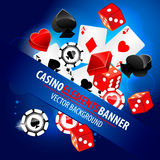 Vector illustration of casino elements. With cards and bones vector illustration