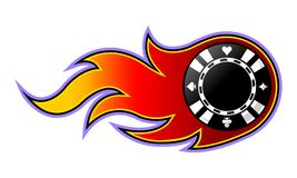 Vector illustration of casino poker chip with flames. Vector illustration of casino poker chip with simple flames. Ideal for stickers, decals, casino poker logo Stock Photos