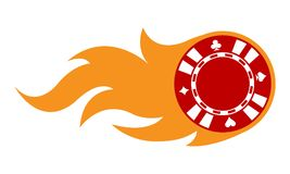 Vector illustration of casino poker chip with flames. Vector illustration of casino poker chip with simple flames. Ideal for stickers, decals, casino poker logo Stock Image