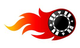 Vector illustration of casino poker chip with flames. Vector illustration of casino poker chip with simple flames. Ideal for stickers, decals, casino poker logo Royalty Free Stock Photo
