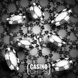 Vector illustration on a casino theme with black playing chips. Stock Images