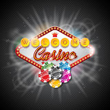 Vector illustration on a casino theme with color playing chips and lighting display on dark background. Stock Image