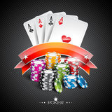 Vector illustration on a casino theme with color playing chips and poker cards on dark background Stock Photos