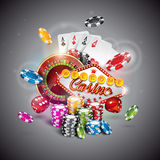 Vector illustration on a casino theme with color playing chips and poker cards on dark background. Royalty Free Stock Photos
