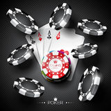 Vector illustration on a casino theme with color playing chips and poker cards on dark background. Eps 10 design stock illustration
