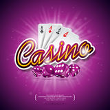 Vector illustration on a casino theme with color playing chips, poker cards, red dices and shiny caption on dark violet background Stock Images