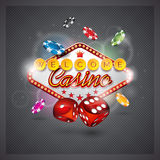 Vector illustration on a casino theme with lighting display and dices on dark backgroun. Stock Photo