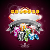 Vector illustration on a casino theme with lighting display and playing chips on purple background Stock Photo