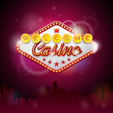 Vector illustration on a casino theme with lighting display and welcome text on purple background Stock Photos