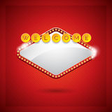 Vector illustration on a casino theme with lighting display and welcome text on red background Royalty Free Stock Photography