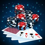 Vector illustration on a casino theme with playing chips and playig cards on dark background. Gambling design elements. Four Aces vector illustration