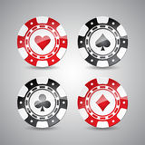 Vector illustration on a casino theme with playing chips set Stock Photography