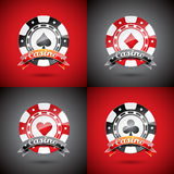 Vector illustration on a casino theme with playing chips set Royalty Free Stock Image