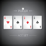Vector illustration on a casino theme with playing poker cards. Poker aces set template.  Stock Photos