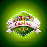 Vector illustration on a casino theme with poker card and chips Stock Image