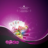 Vector illustration on a casino theme with poker cards and gambling design elements on dark violet background. Royalty Free Stock Image