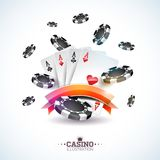 Vector illustration on a casino theme with poker cards and playing chips on white background. Gambling design for Royalty Free Stock Image