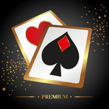 Vector illustration on a casino theme with poker. Symbols and cards on dark background stock photography