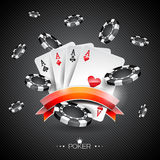 Vector illustration on a casino theme with poker symbols and poker cards on dark background.  Stock Photography