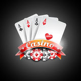 Vector illustration on a casino theme with poker symbols and poker cards on dark background Royalty Free Stock Photography