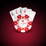 Vector illustration on a casino theme with red playing chips and playig cards on dark background. Gambling design elements. Stock Photo