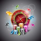 Vector illustration on a casino theme with roulette wheel and playing chips on dark background. Stock Images