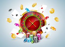 Vector illustration on a casino theme with roulette wheel, poker cards and playing chips on white background. Gambling. Design for invitation or promo banner stock illustration