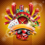 Vector illustration on a casino theme with roulette wheel and ribbon. stock illustration