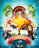 Vector illustration on a casino theme with roulette wheel. And ribbon on tropical background Stock Images