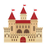 Vector illustration of a castle in flat style. Medieval stone fortress. Abstract. Fantasy castle can be used in books, game background, web design, banner, etc royalty free illustration