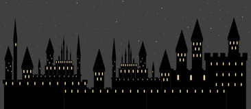 Vector illustration with castles in sleeping night city Stock Image