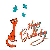 Vector illustration cat and bird congratulations happy birthday Royalty Free Stock Photography