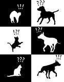 Vector illustration cat and dog pets reactions. Pets reactions cat and dog silhouettes Royalty Free Stock Photo
