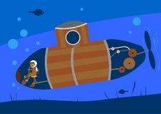 The cat made himself a submarine, and swims under water royalty free illustration