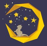 Vector Illustration. Cat On The Moon In The Night Sky Royalty Free Stock Image
