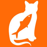 Vector illustration of cat on orange background. Vector illustration of cat with fish on orange background Royalty Free Stock Image